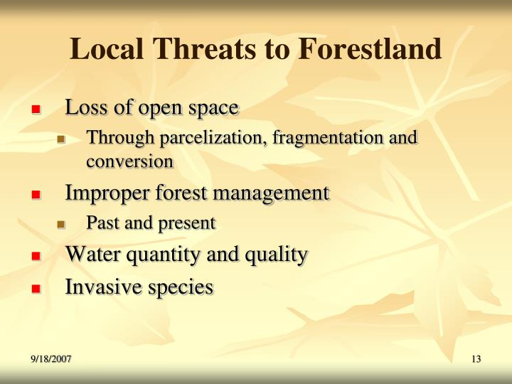 Local Threats to Forestland