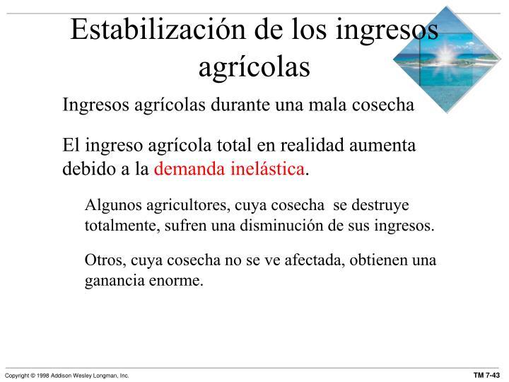 Estabilización de los ingresos agrícolas