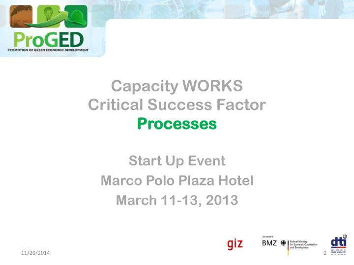 Capacity works critical success factor processes
