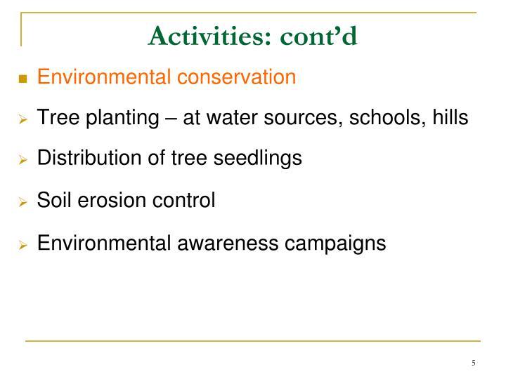 Activities: cont'd