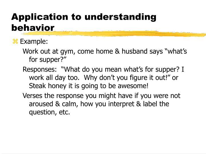 Application to understanding behavior