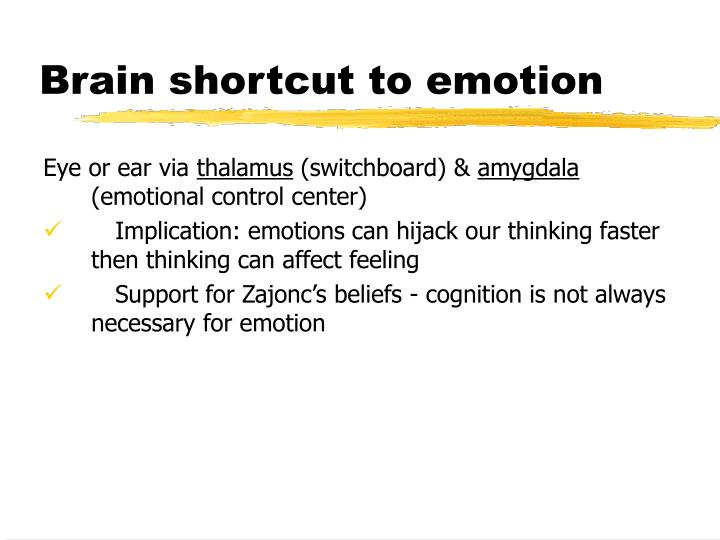 Brain shortcut to emotion
