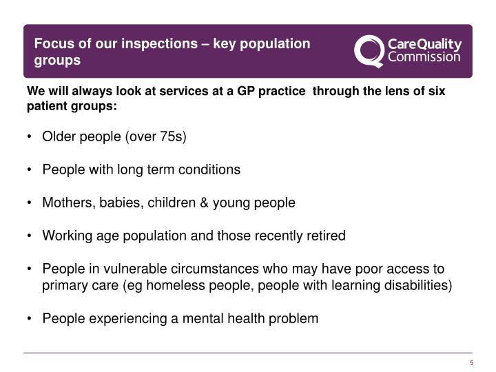 Focus of our inspections – key population groups