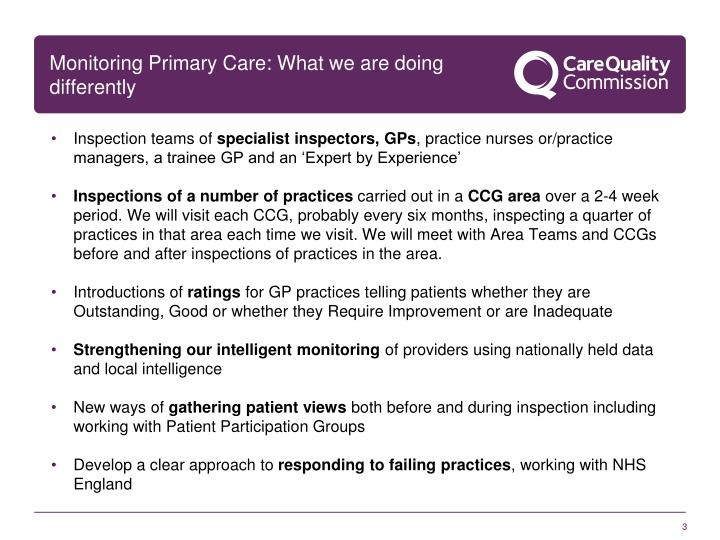 Monitoring primary care what we are doing differently