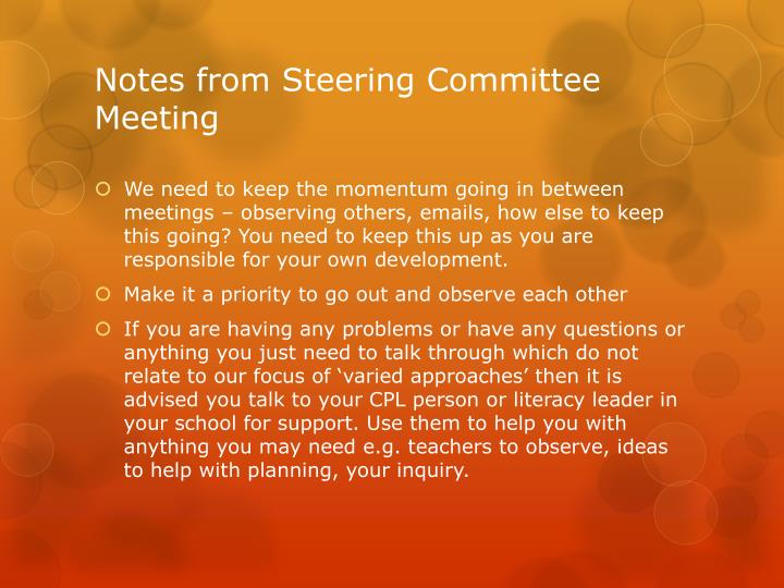 Notes from steering committee meeting