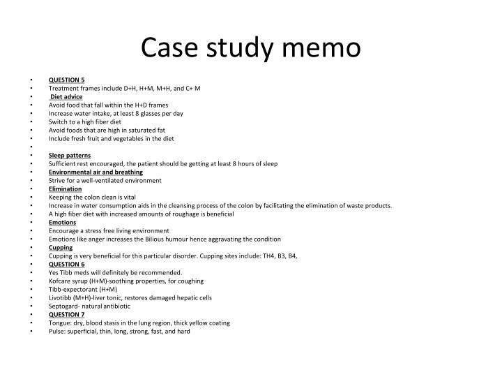 Case study memo
