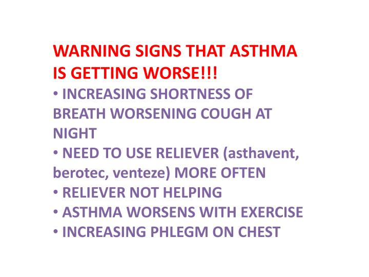 WARNING SIGNS THAT ASTHMA IS GETTING WORSE!!!