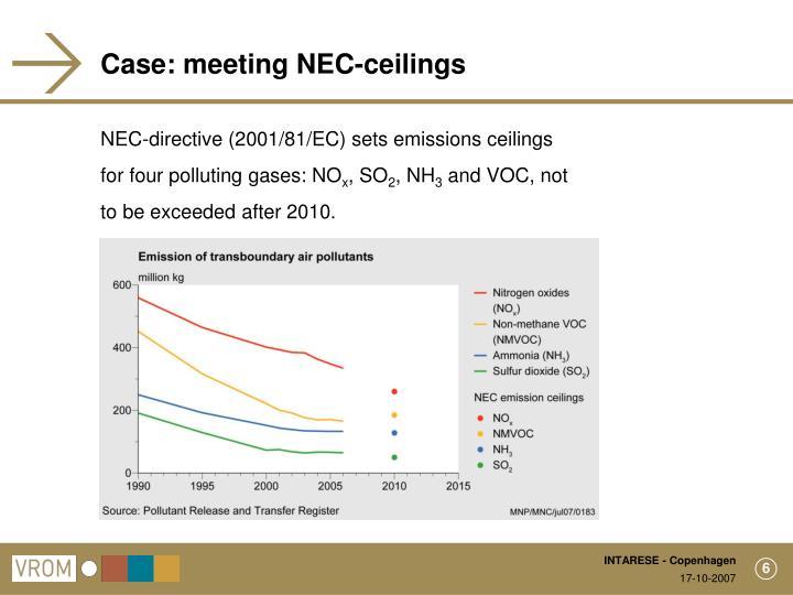 Case: meeting NEC-ceilings