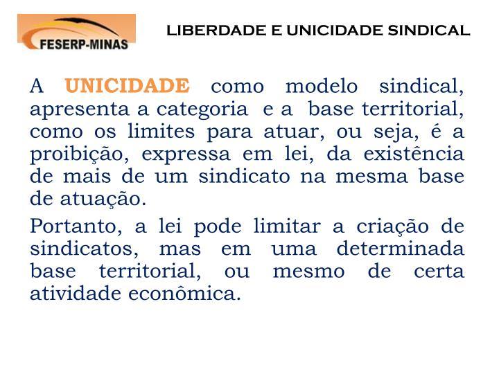 LIBERDADE E UNICIDADE SINDICAL