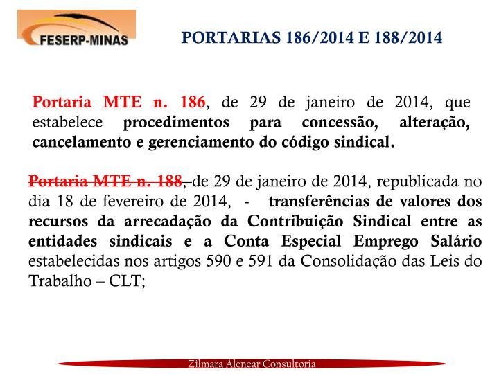 PORTARIAS 186/2014 E 188/2014