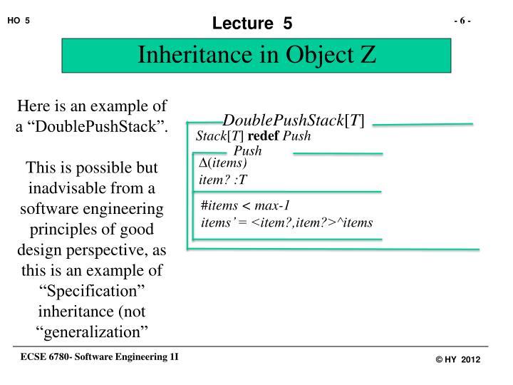 Inheritance in Object Z