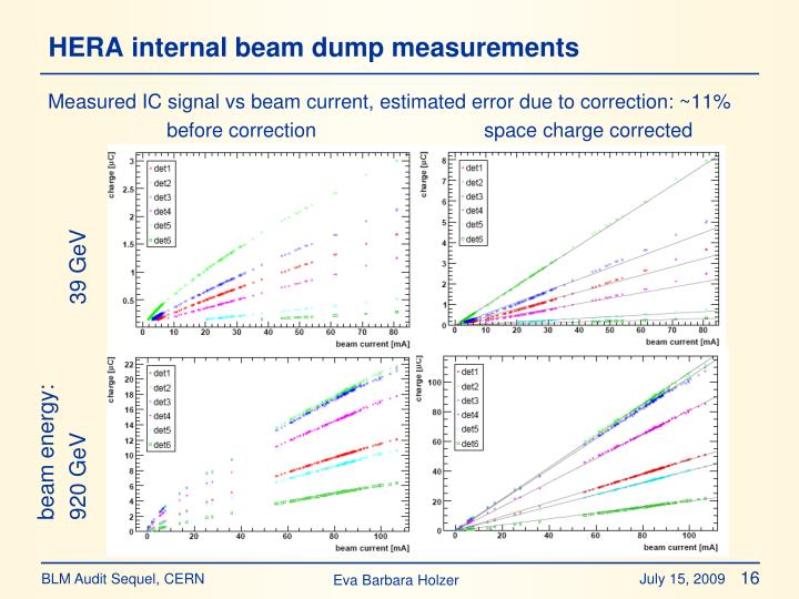 HERA internal beam dump measurements