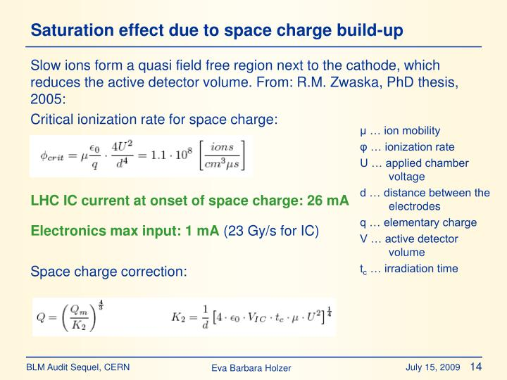 Saturation effect due to space charge build-up