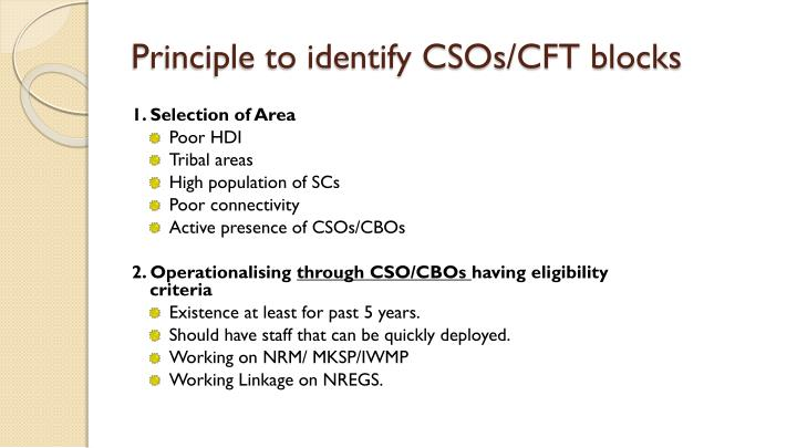 Principle to identify CSOs/CFT blocks