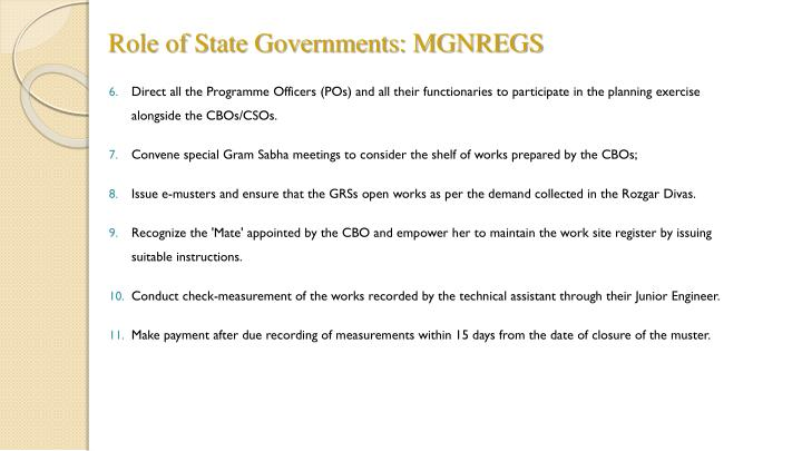 Role of State Governments: MGNREGS