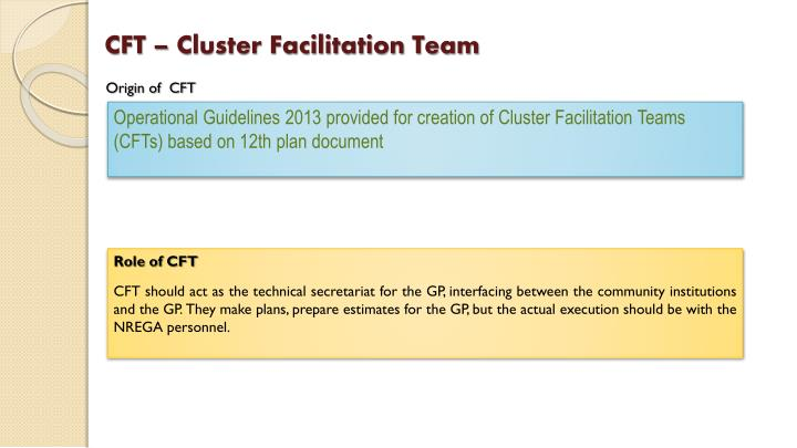 CFT – Cluster Facilitation Team