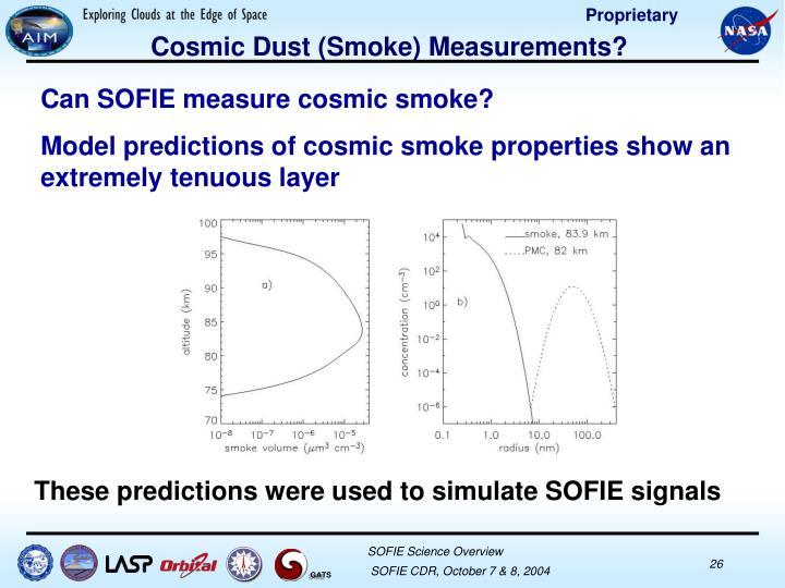 Cosmic Dust (Smoke) Measurements?