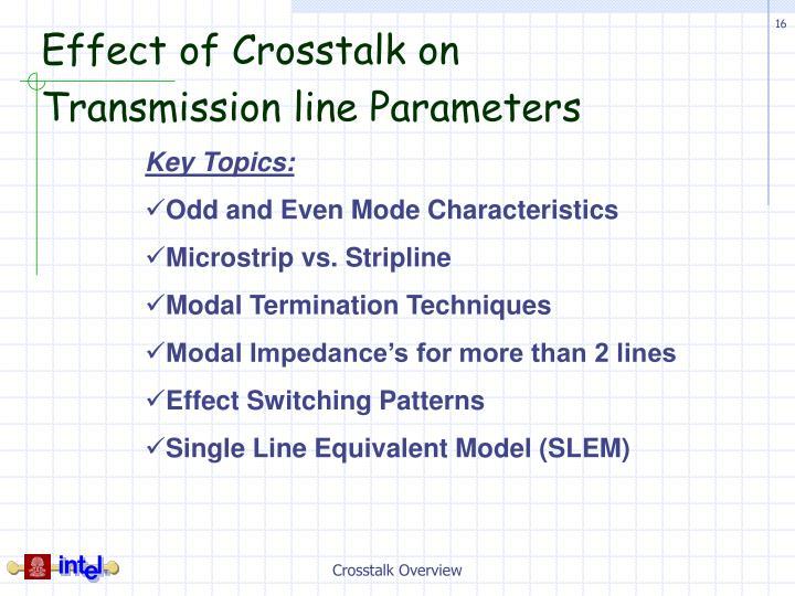 Effect of Crosstalk on Transmission line Parameters
