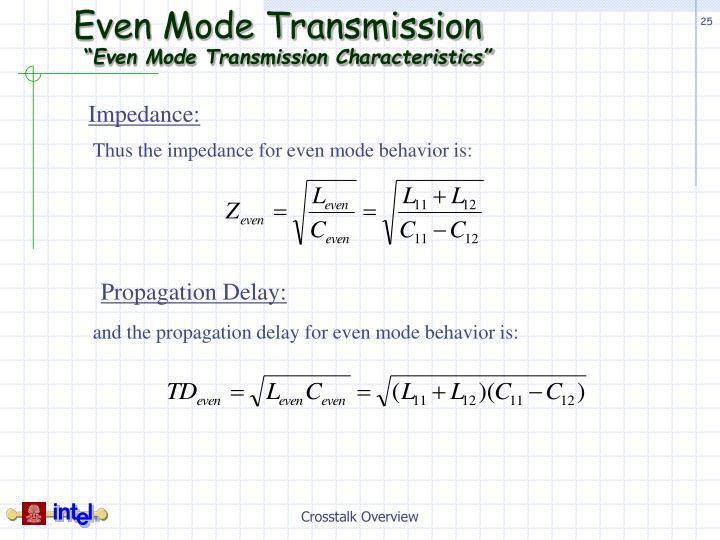 Even Mode Transmission