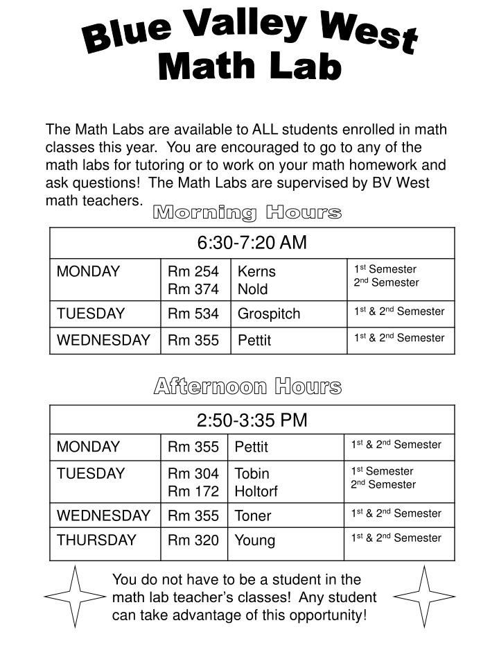 You do not have to be a student in the math lab teacher's classes!  Any student can take advantage...