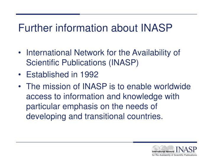 Further information about INASP
