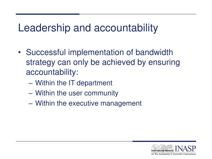 Leadership and accountability