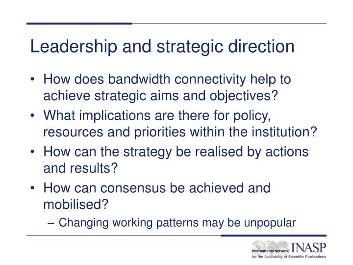 Leadership and strategic direction