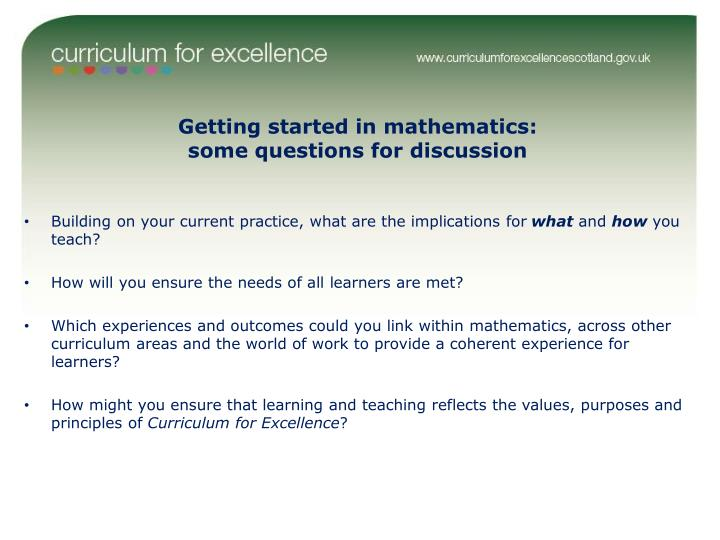 Getting started in mathematics: