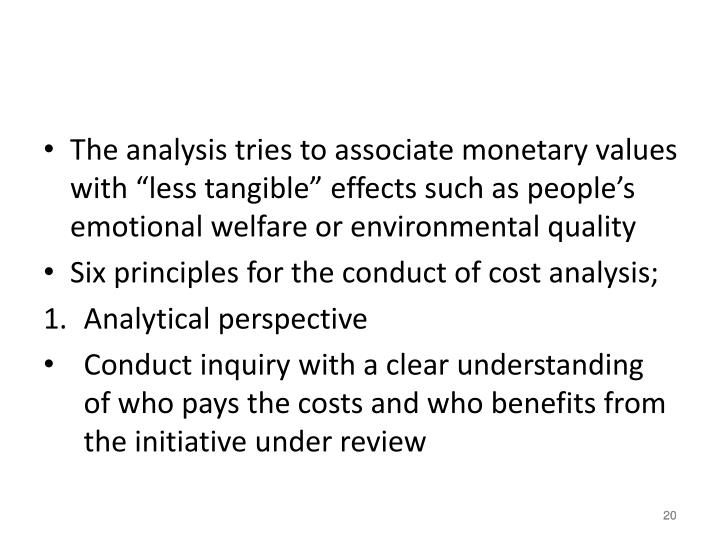 "The analysis tries to associate monetary values with ""less tangible"" effects such as people's emotional welfare or environmental quality"