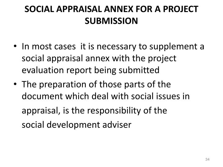 SOCIAL APPRAISAL ANNEX FOR A PROJECT SUBMISSION