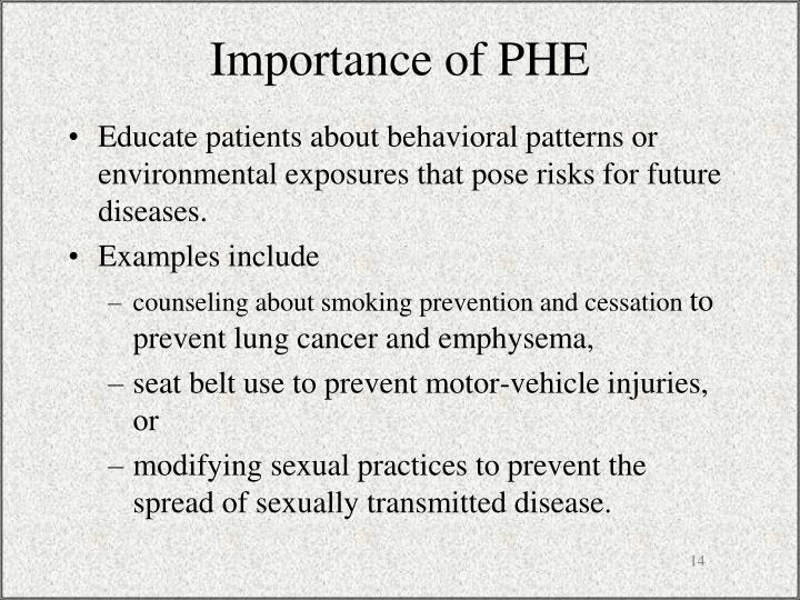 Importance of PHE
