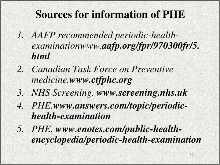 Sources for information of PHE