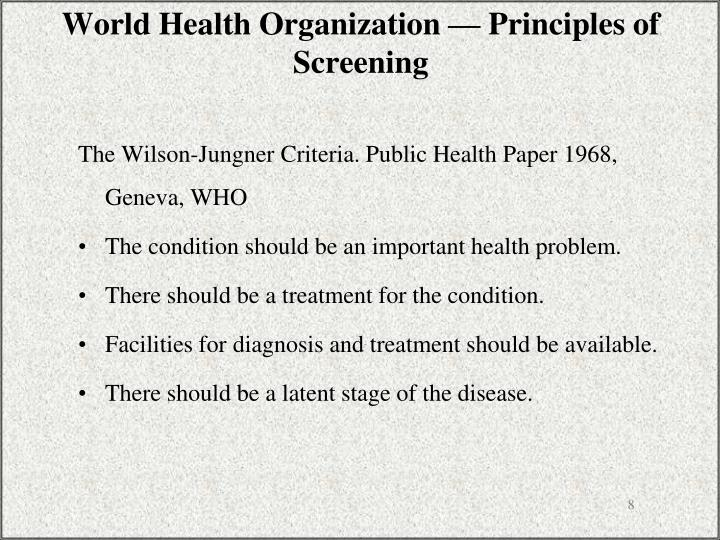 World Health Organization — Principles of Screening