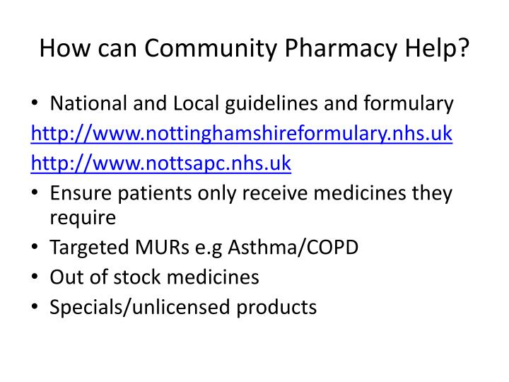 How can Community Pharmacy Help?