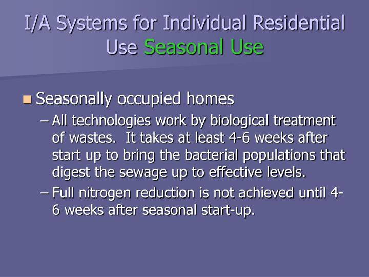 I/A Systems for Individual Residential Use