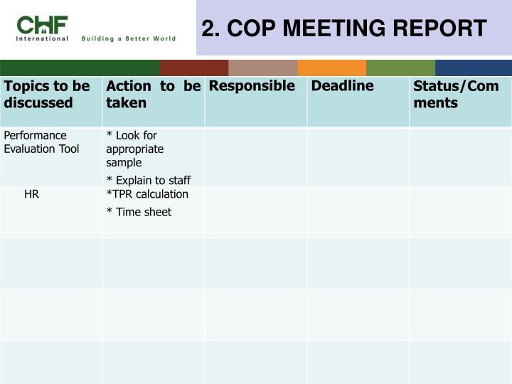 2. COP MEETING REPORT