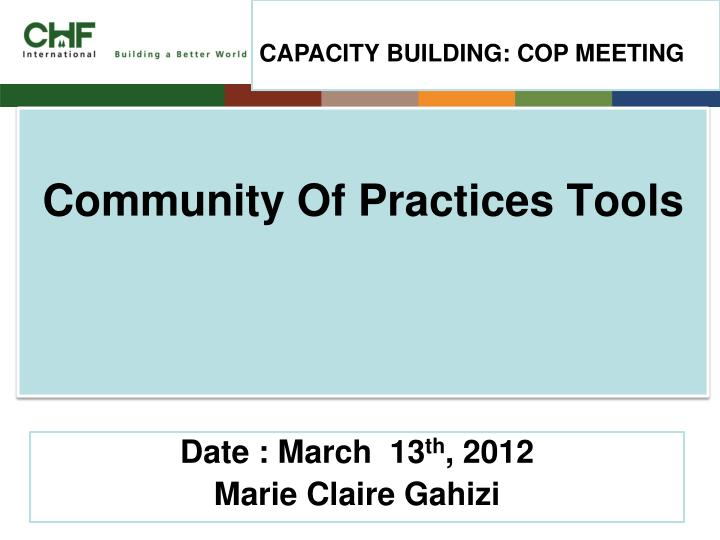 Community of practices tools