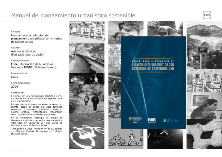 Manual de planeamiento urbanístico sostenible