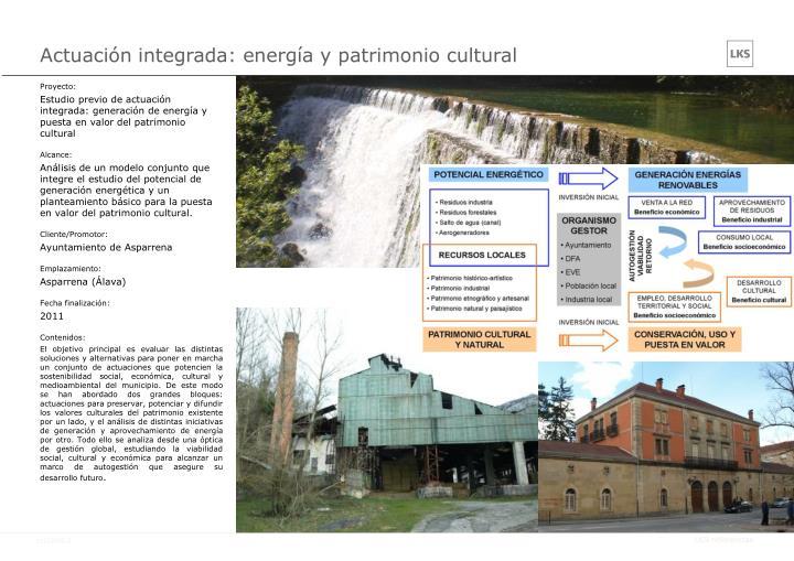 Actuación integrada: energía y patrimonio cultural