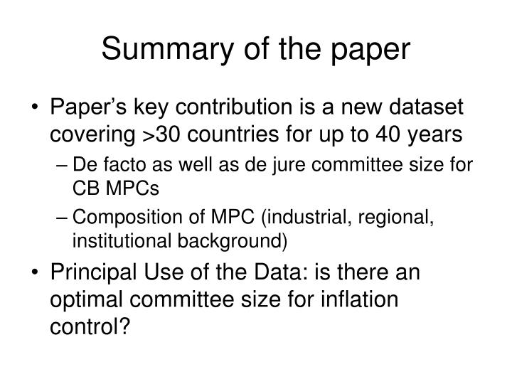 Summary of the paper