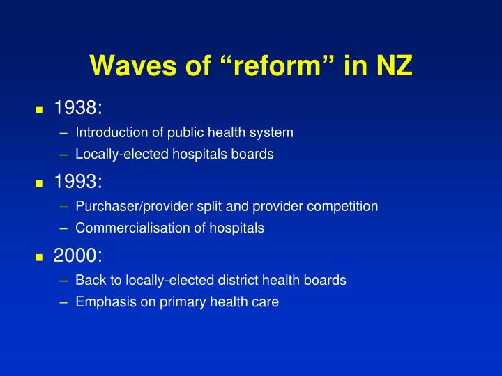 "Waves of ""reform"" in NZ"