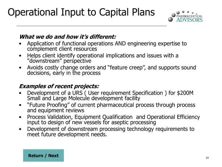 Operational Input to Capital Plans