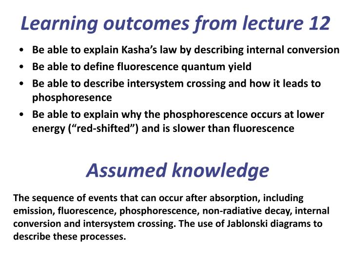 Learning outcomes from lecture 12