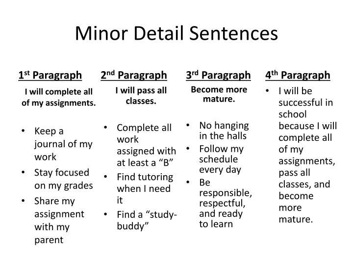 Minor Detail Sentences