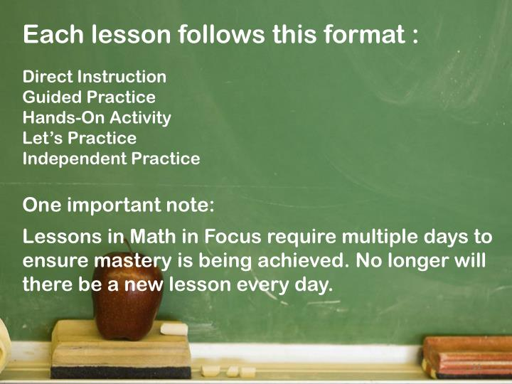 Each lesson follows this format