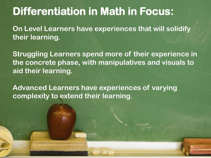 Differentiation in Math in Focus
