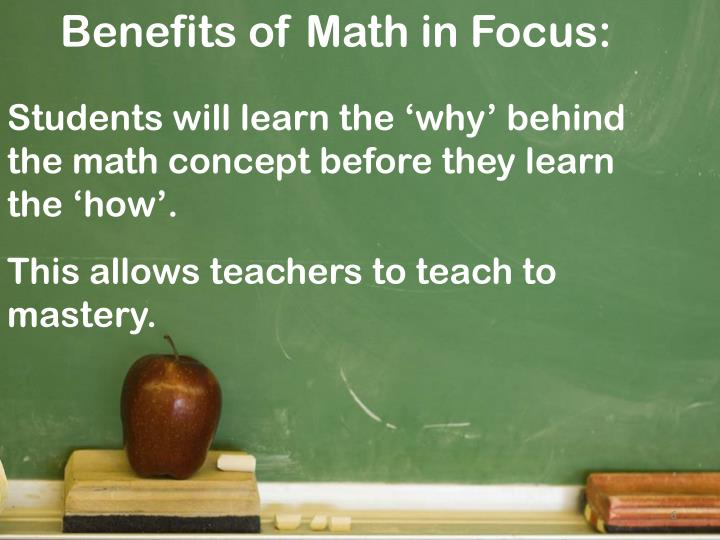Benefits of Math in Focus: