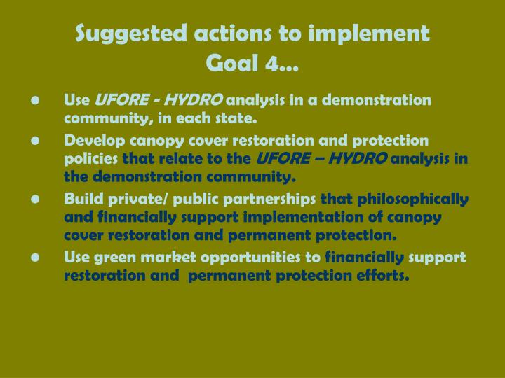 Suggested actions to implement