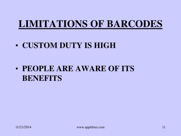 LIMITATIONS OF BARCODES