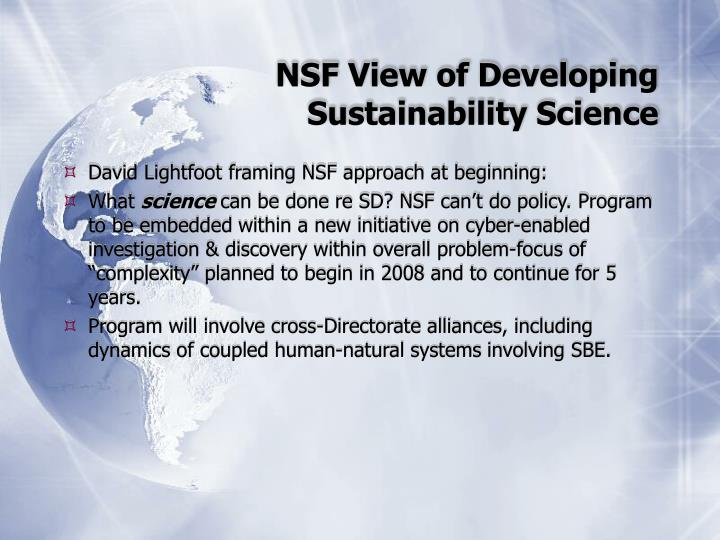 NSF View of Developing Sustainability Science